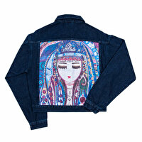Picture of BiggDesign Blue Water Denim Jacket for women, designed by Turkish artist