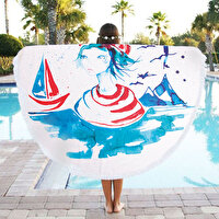 Picture of BiggDesign AnemosS Sailor Girl Patterned Round Beach Towel - White