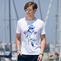 Picture of BiggDesign AnemosS Captain Men's Crew-neck White T-Shirt - Small