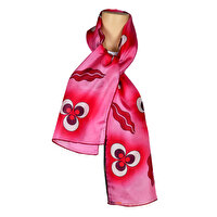 Picture of BiggDesign CinteMeni Silk Voile Patterned Scarf - Pink