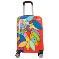 Picture of BiggDesign Fish Patterned Colorful Medium Size Suitcase