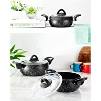 Picture of Hisar Assos Granite Black 6 Piece Mini Cookware Set