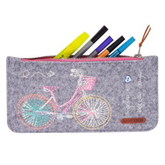 BiggDesign Felt Bicycles Zipper Small Bag