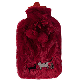 Biggdesign Cats in Istanbul  Burgundy Plush Hot Water Bottle