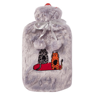 Biggdesign Cats in Istanbul Grey Plush Hot Water Bottle