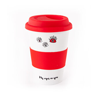 Biggdesign My Eyes On You Lidded Red Ceramic Mug