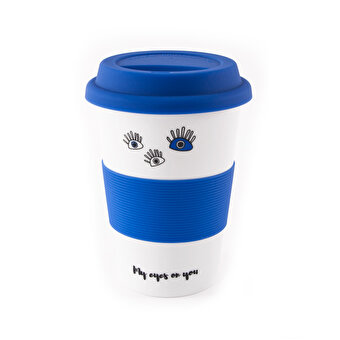 Biggdesign My Eyes On You Lidded Blue Ceramic Mug