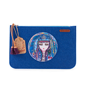 BiggDesignMavi Su Zippered Felt Bag