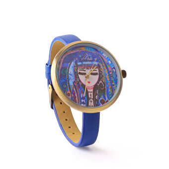BiggDesign Blue Water Leather Wrist Watch