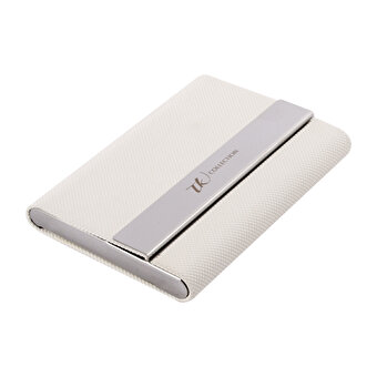 TK Collection White Leather Card Holder