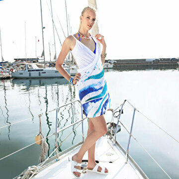Picture of AnemosS Wave Pattern Multi Color Beach Dress