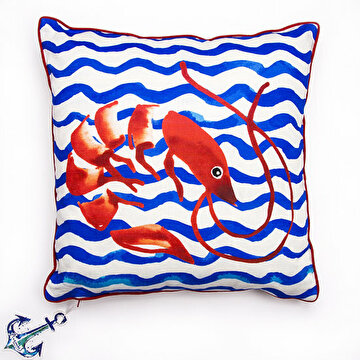 Picture of  Biggdesign Anemoss Shrimp Patterned Fiber Filled Cotton Square Pillow