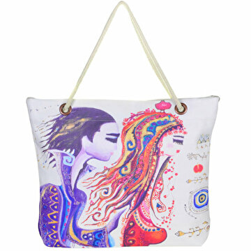 "Picture of BiggDesign ""Love"" Patterned Beach Bag - White"