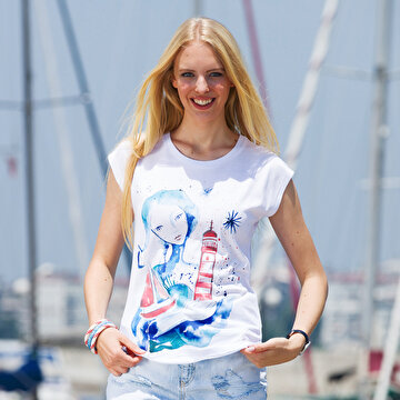 Picture of BiggDesign AnemosS The Girl with Lighthouse Women's Crew-Neck White T-Shirt - Small