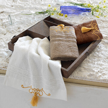 Picture of  Ecocotton Emily Brown 100% Original Turkish Cotton Kitchen Towel Set, 30*50 Cm