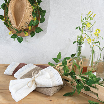 Picture of Ecocotton Frilly Cream  100% Original Turkish Cotton Kitchen Towel Set, 30*50 Cm