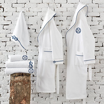 Picture of Ecocotton Route White  Men Bathrobe Medium, 100% Organic Turkish Cotton