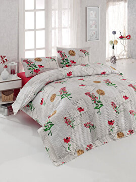Picture of Gold Case 4 Season 100% Cotton Single Size Quilted Duvet Set - Holly Red