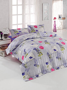 Picture of Gold Case 4 Season 100% Cotton Single Size Quilted Duvet Set - Holly Purple