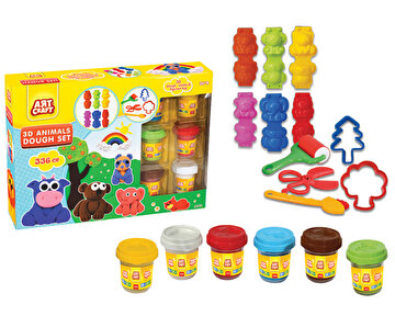 Изображение Dede 3D Animals Dough Set, Scissors and Shaped Molds, Suitable for Children 36 Months and Up , Colorful