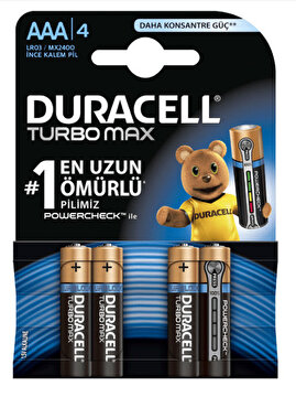 Picture of  Duracell Turbo Max İnce Kalem Pil 4'lü AAA