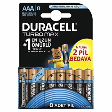Picture of  Duracell Turbo Max İnce Kalem Pil 8'li  AAA