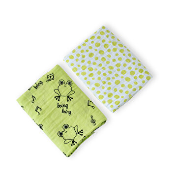 Picture of Milk&Moo Cacha Frog Muslin Swaddle Blanket  Set of 2