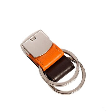Изображение  NEKTAR 65632 Orange Brown Double Ring Keychain