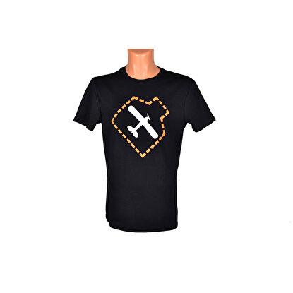 Resim  THK Design Uçak Baskılı Siyah T-Shirt