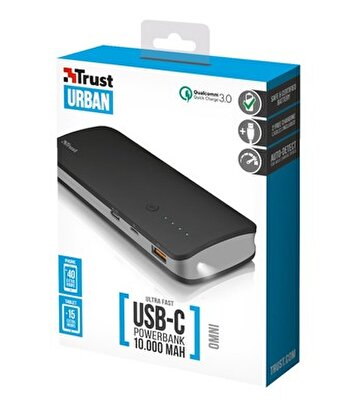 Resim   Trust Urban Omni Ultra Fast 10000mAh Powerbank with USB-C 21858
