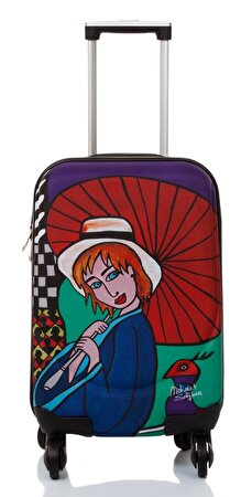 "Picture of BiggDesign BGDT0922D01 Canvas Luggage 18 ""Mehmet Sağbaş Umbrella Girl"