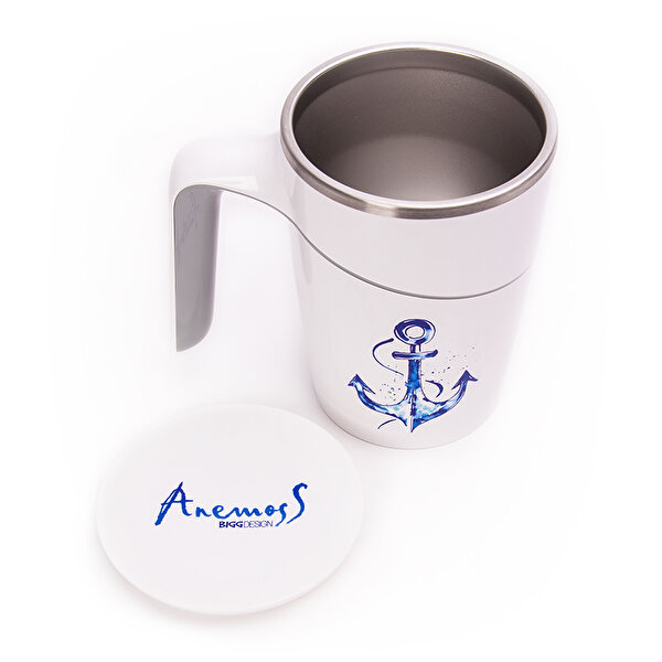 Picture of BiggDesign AnemosS Anchor Patterned Suction Mug - White - 470 ml