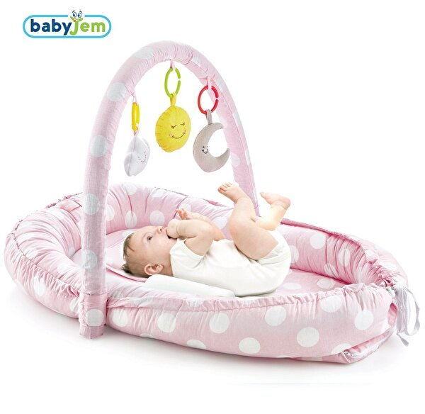 Picture of Babyjem Parents' Side Pink Bed with Toys