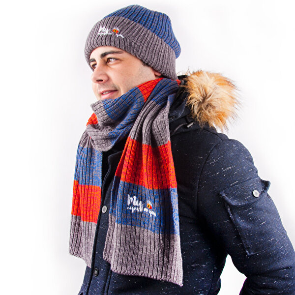 Picture of BiggDesign Eyes on You Knitted Scarf and Beanie Set Men
