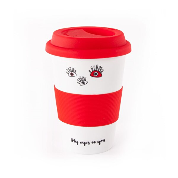 Изображение  Biggdesign Eyes On You Lidded Red Ceramic Mug