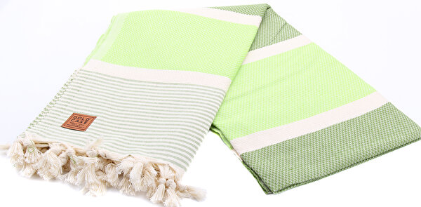 Picture of Gold Case Exclusive Group 100% Cotton Multi-Purpose Peshtemal Towel - Loincloth - Ephesos Striped Green