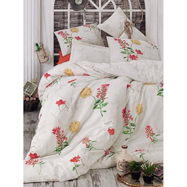 Picture of Gold Case Ranforce 100% Cotton Twin Size Duvet Set - Holly Red