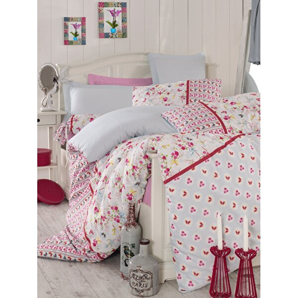 Picture of Mary Case Ranforce 100% Cotton Twin Size Duvet Set - Emma Pink