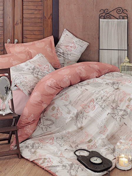 Picture of Mary Case Ranforce 100% Cotton Twin Size Duvet Set - Helen Beige